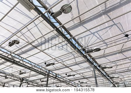 Glass Roof Of Greenhouse Pavilion With Lighting Equipment