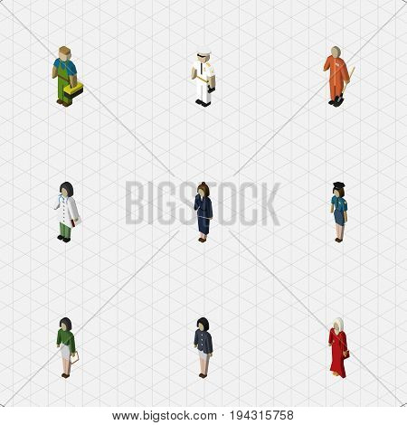 Isometric Person Set Of Plumber, Female, Pedagogue And Other Vector Objects. Also Includes Technician, Builder, Sailor Elements.