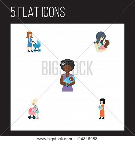 Flat Icon Mam Set Of Mam, Mother, Baby And Other Vector Objects. Also Includes Mother, Perambulator, Mam Elements.