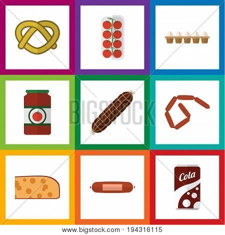 Flat Icon Food Set Of Tomato, Cookie, Eggshell Box And Other Vector Objects. Also Includes Eggshell, Ketchup, Frankfurt Elements.