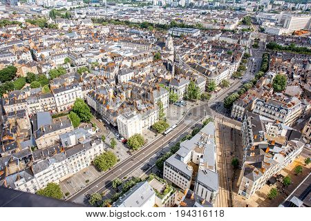 Aerial cityscape view with beautiful buildings and in Nantes city during the sunny weather in France