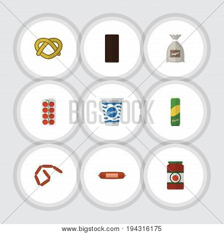 Flat Icon Meal Set Of Kielbasa, Spaghetti, Confection And Other Vector Objects. Also Includes Biscuit, Bag, Cookie Elements.