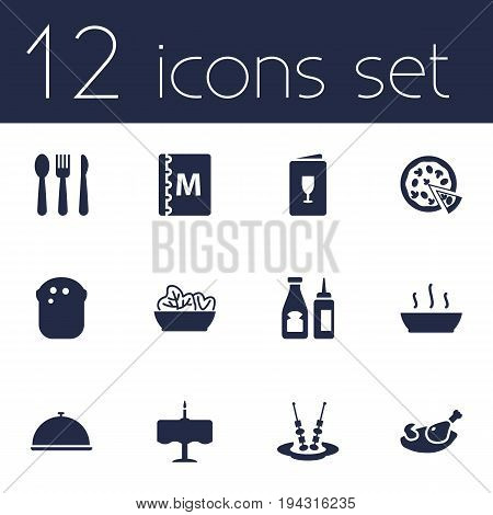 Set Of 12 Bar Icons Set.Collection Of Alcohol, Silverware, Catsup And Other Elements.