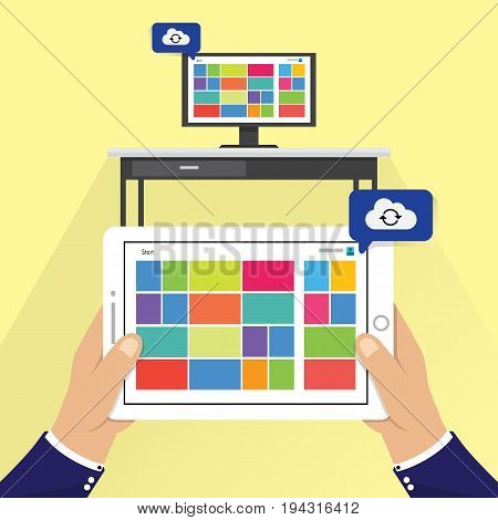 Personal Computer PC and tablet cloud synchronization. vector illustration. Wireless file transfer network technology creative concept. Remote internet storage for files graphic design. Online file synchronization.