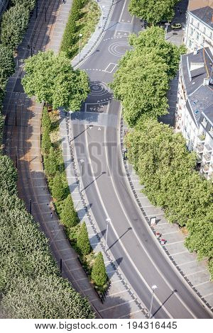 Aerial view on the wide green avenue in Nantes city in France