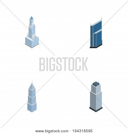 Isometric Skyscraper Set Of Residential, Cityscape, Exterior And Other Vector Objects. Also Includes Apartment, Skyscraper, Tower Elements.