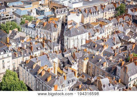 Aerial cityscape view with beautiful buildings in Nantes city during the sunny weather in France