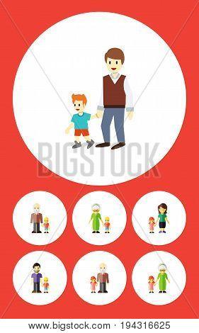 Flat Icon Family Set Of Boys, Grandson, Grandpa Vector Objects. Also Includes Grandchild, Grandpa, Men Elements.