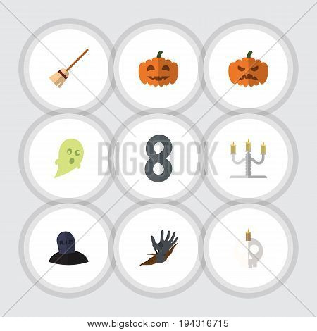 Flat Icon Celebrate Set Of Broom, Candlestick, Zombie Vector Objects. Also Includes Tomb, Broom, Corpse Elements.