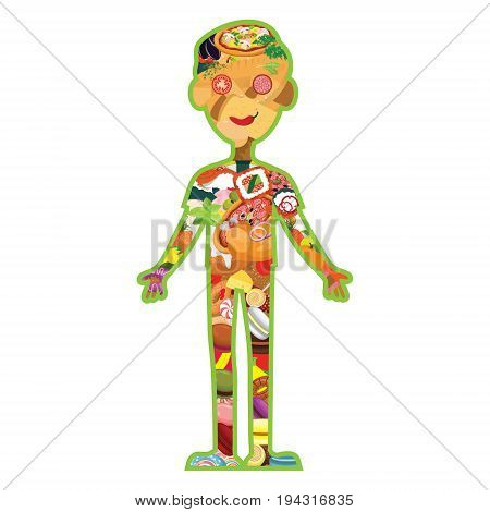 Vector food in the form of a human body. The idea for a restaurant infographic menu or a healthy lifestyle. An unusual concept. On white isolated background.
