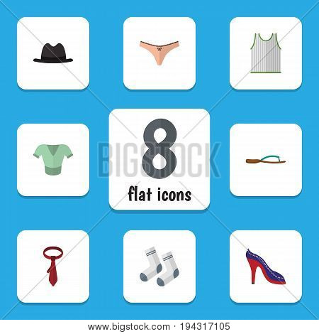 Flat Icon Dress Set Of Foot Textile, Singlet, Beach Sandal Vector Objects. Also Includes Tank, Foot, Tie Elements.