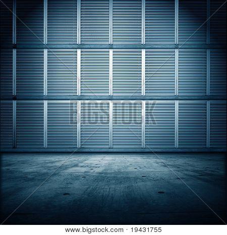 Blue industrial room.