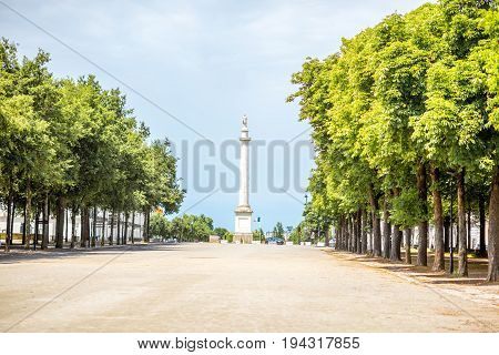 Morning view on the saint Pierre park with Louis column during the morning in Nantes city in France
