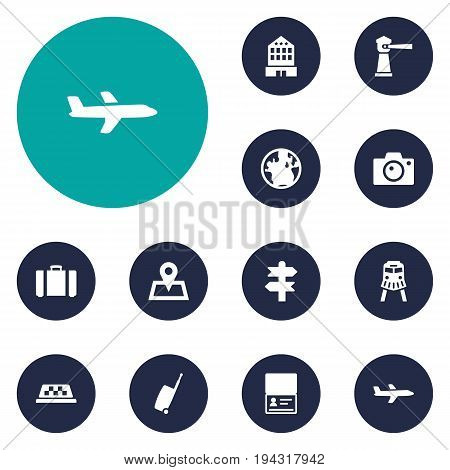 Set Of 12 Travel Icons Set.Collection Of Aircraft, Planet, Baggage And Other Elements.