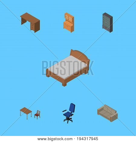 Isometric Design Set Of Sideboard, Table, Cupboard And Other Vector Objects. Also Includes Drawer, Wardrobe, Bed Elements.
