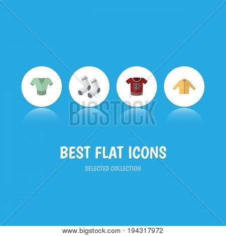 Flat Icon Dress Set Of Casual, Foot Textile, Banyan And Other Vector Objects. Also Includes Textile, Clothes, Banyan Elements.