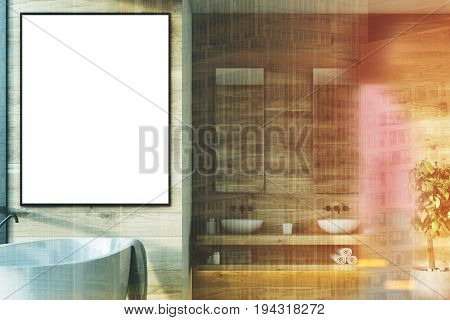 Wooden bathroom interior with a white tub a vertical framed poster hanging above it double sinks and mirrors and a tree in a pot girl. 3d rendering mock up toned image double exposure