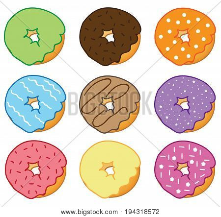 Yummy Delicious Colorful Donuts with Sweet Frosting