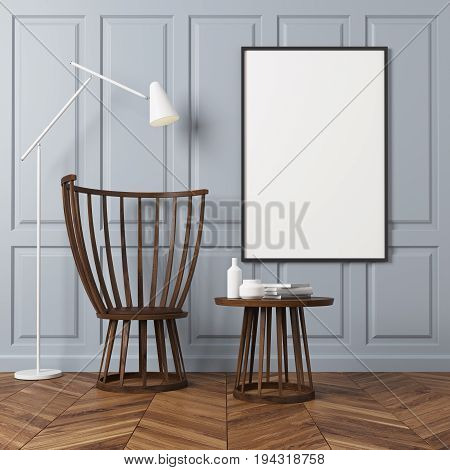 Empty room interior with gray rectangular pattern walls and a wooden floor. There is a wooden coffee table and a chair a poster on a wall and a white lamp. 3d rendering mock up