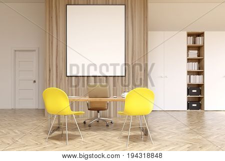 White And Wooden Office, Vertical Poster