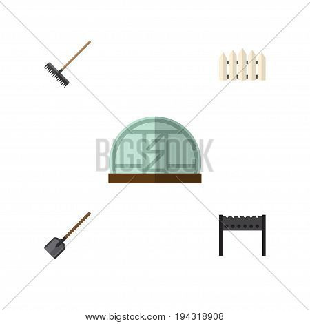 Flat Icon Dacha Set Of Harrow, Wooden Barrier, Hothouse And Other Vector Objects. Also Includes Barrier, Rake, Brazier Elements.