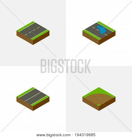Isometric Way Set Of Sand, Plash, Driveway Vector Objects. Also Includes Single, Turn, Plane Elements.