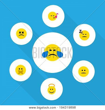 Flat Icon Expression Set Of Asleep, Hush, Displeased And Other Vector Objects. Also Includes Cheerful, Angel, Hush Elements.