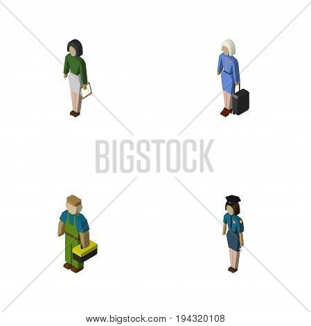 Isometric Human Set Of Policewoman, Hostess, Plumber And Other Vector Objects. Also Includes Pedagogue, Lady, Officer Elements.