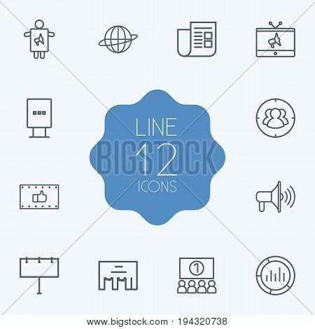 Set Of 12 Commercial Outline Icons Set.Collection Of Stand, Promotion, Market Elements.