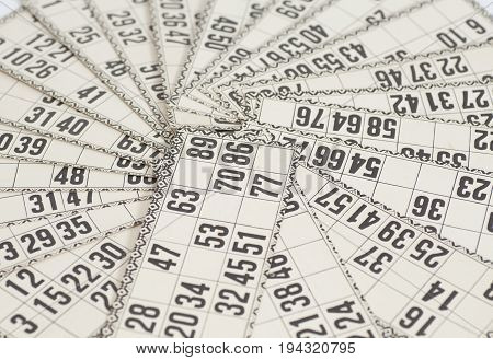 Cards For Russian Lotto (bingo Game) Close Up