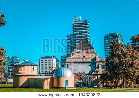 Melbourne Observatory with skyscrapers in the background. Melbourne Australia