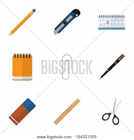 Flat Icon Equipment Set Of Clippers, Knife, Straightedge And Other Vector Objects. Also Includes Almanac, Notepad, Straightedge Elements.