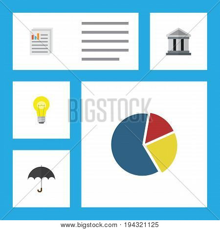 Flat Icon Gain Set Of Document, Parasol, Bubl And Other Vector Objects. Also Includes Bar, Bank, Light Elements.