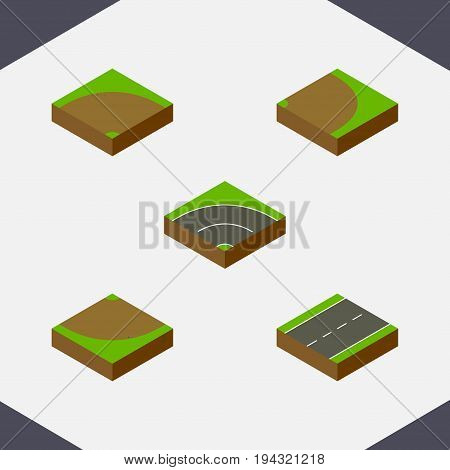 Isometric Way Set Of Sand, Turn , Rotation Vector Objects. Also Includes Sand, Road, Asphalt Elements.