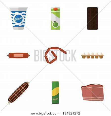 Flat Icon Meal Set Of Confection, Bratwurst, Packet Beverage And Other Vector Objects. Also Includes Bar, Bratwurst, Egg Elements.