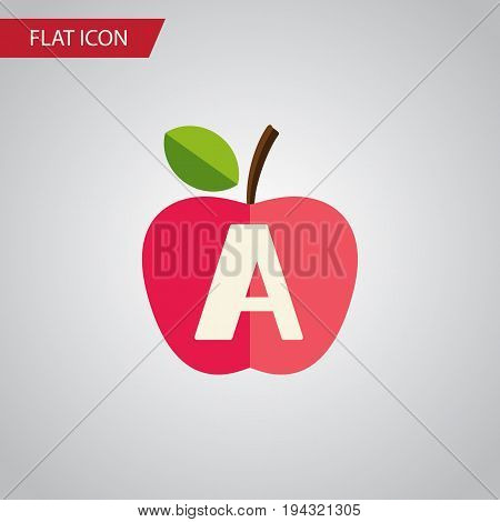 Isolated Apple Flat Icon. Vitamin A Vector Element Can Be Used For Vitamin, A, App, E Design Concept.
