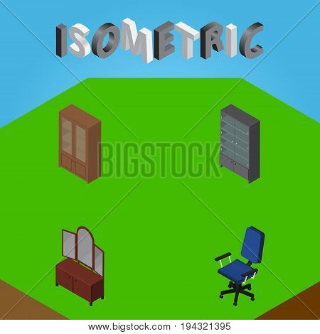 Isometric Furniture Set Of Cabinet, Office, Drawer And Other Vector Objects. Also Includes Chair, Cabinet, Locker Elements.