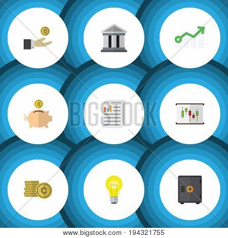 Flat Icon Gain Set Of Document, Cash, Bank And Other Vector Objects. Also Includes Bank, Safe, Architecture Elements.