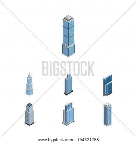 Isometric Construction Set Of Skyscraper, Exterior, Urban And Other Vector Objects. Also Includes Exterior, Residential, Center Elements.