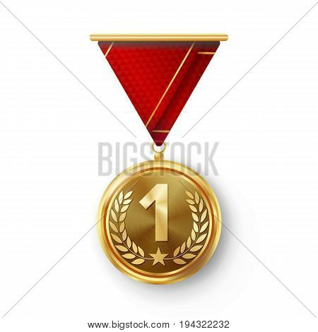 Gold Medal Vector. Metal Realistic First Placement Achievement. Round Medal With Red Ribbon, Relief Detail Of Laurel Wreath And Star. Competition Game Golden Achievement. Winner Trophy