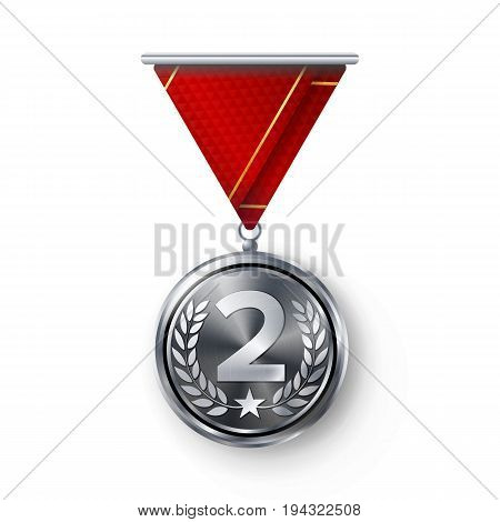 Silver Medal Vector. Metal Realistic Second Placement Achievement. Round Medal With Red Ribbon, Relief Detail Of Laurel Wreath And Star. Competition Game Siver Achievement. Winner Trophy