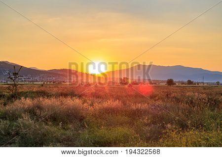 Acipayam city view from plateau in Denizli Turkey