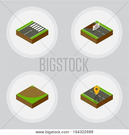 Isometric Way Set Of Footer, Navigation, Turn And Other Vector Objects. Also Includes Turn, Repairs, Under Elements.