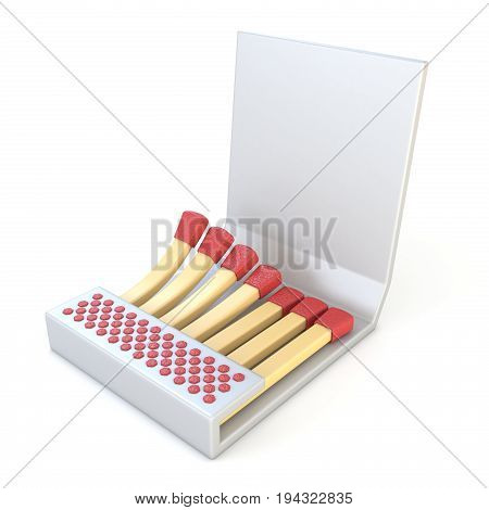 White Cardboard Matcbook Side View 3D