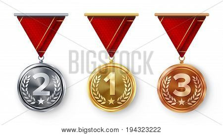 Champion Medals Set Vector. Metal Realistic First, Second Third Placement Achievement. Round Medals With Red Ribbon, Relief Detail Of Laurel Wreath, Star. Sport Game Golden, Silver, Bronze