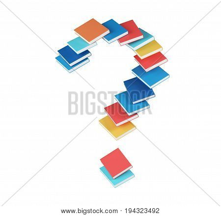 Red blue orange cyan book forming a large question mark. Concept of education reading and finding answers. 3d rendering