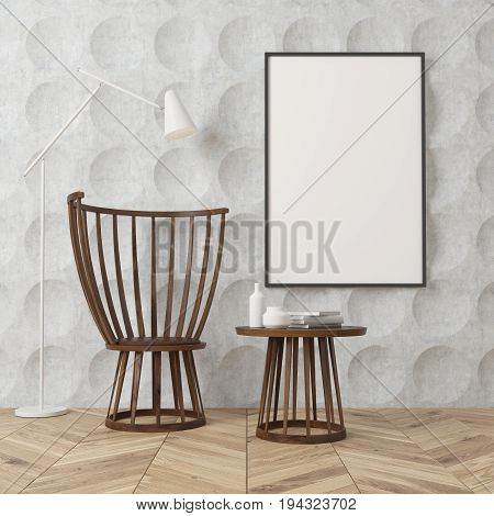 Empty room interior with gray circle pattern walls and a wooden floor. There is a wooden coffee table and a chair a poster on a wall and a white lamp. 3d rendering mock up