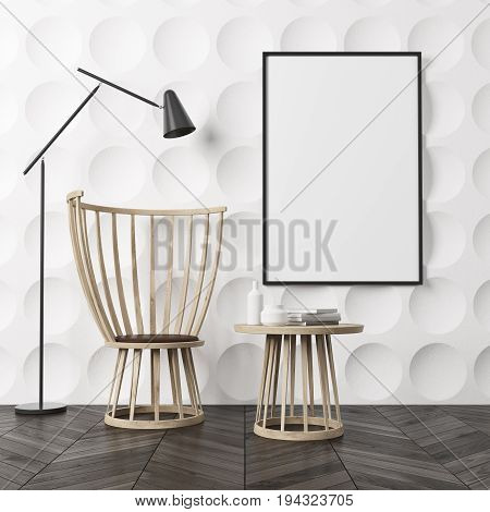 Empty room interior with white circle pattern walls and a dark wooden floor. There is a wooden coffee table and a chair a poster on a wall and a black lamp. 3d rendering mock up