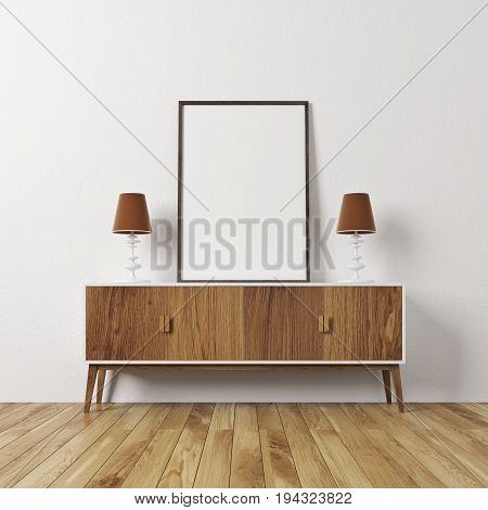 Empty room interior with white walls and a wooden floor. There is a wooden closet with a framed vertical poster on it. 3d rendering mock up