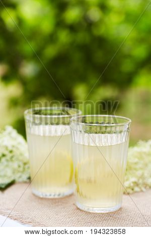 Two Glasses With Fresh Elderflower Juice